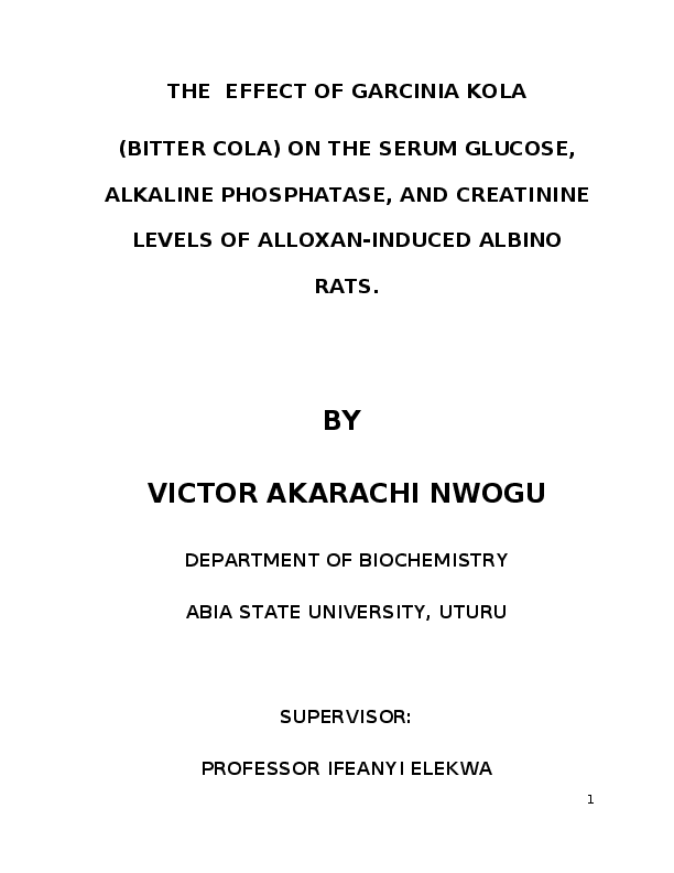 DOC) The Effect of Garcinia Cola On The Glucose, Alkaline