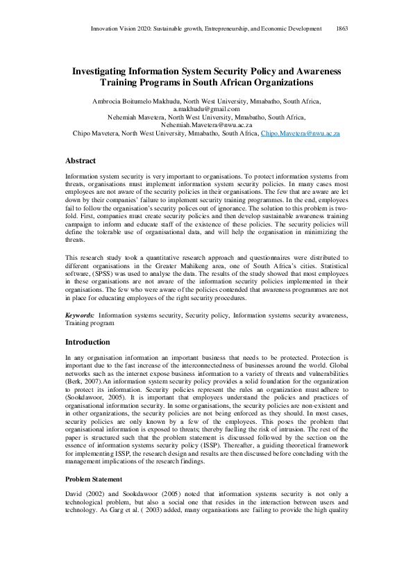PDF) Investigating Information System Security Policy and Awareness