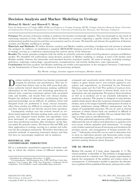 PDF) Decision analysis and Markov modeling in urology  | Michael
