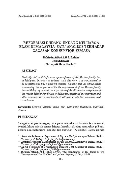 Pdf Reformasi Undang Undang Keluarga Islam Di Malaysia Satu Analisis Terhadap Gagasan Konsep Fiqh Semasa Zul Azri Sani Academia Edu
