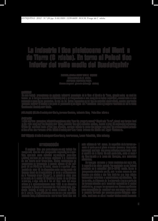 Pdf La Industria Lítica Pleistocénica Del Montón De Tierra