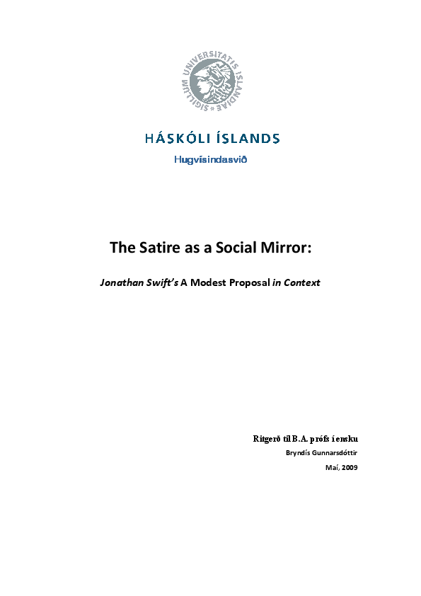 Pdf The Satire As A Social Mirror Jonathan Swift S A Modest