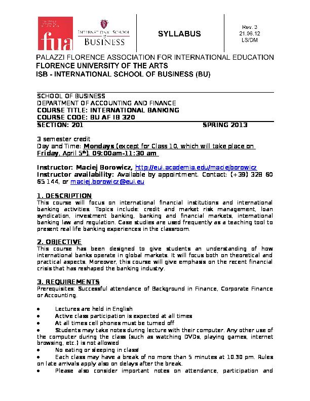 DOC) International Banking Syllabus (Spring 2013)   Maciej K