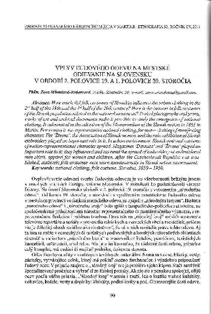 0883182b3636 PDF) VPLYV ĽUDOVÉHO ODEVU NA MESTSKÉ ODIEVANIE NA SLOVENSKU V OBDOBÍ ...