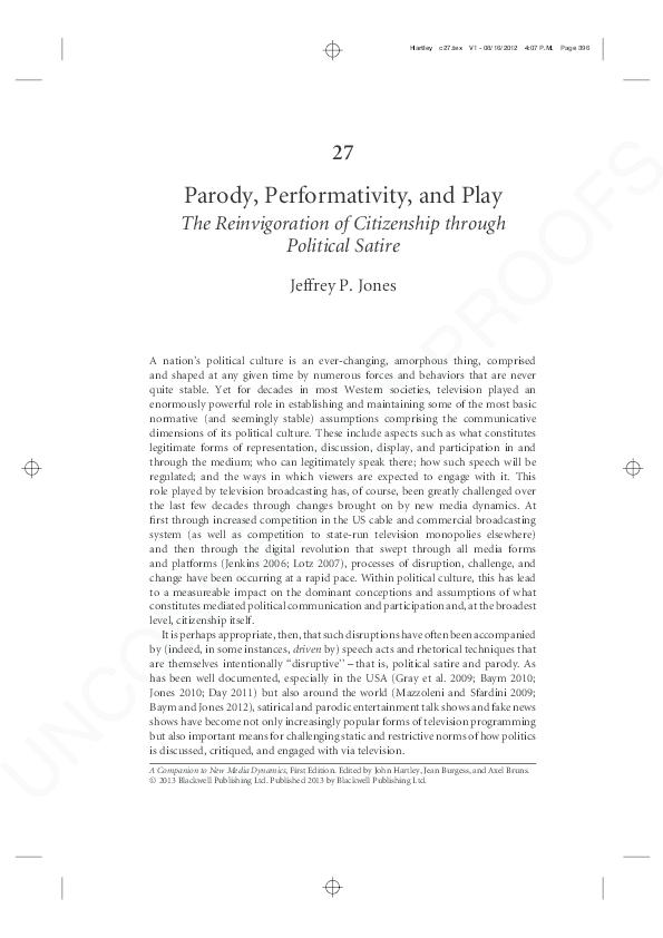 Pdf Parody Performativity And Play The Reinvigoration Of