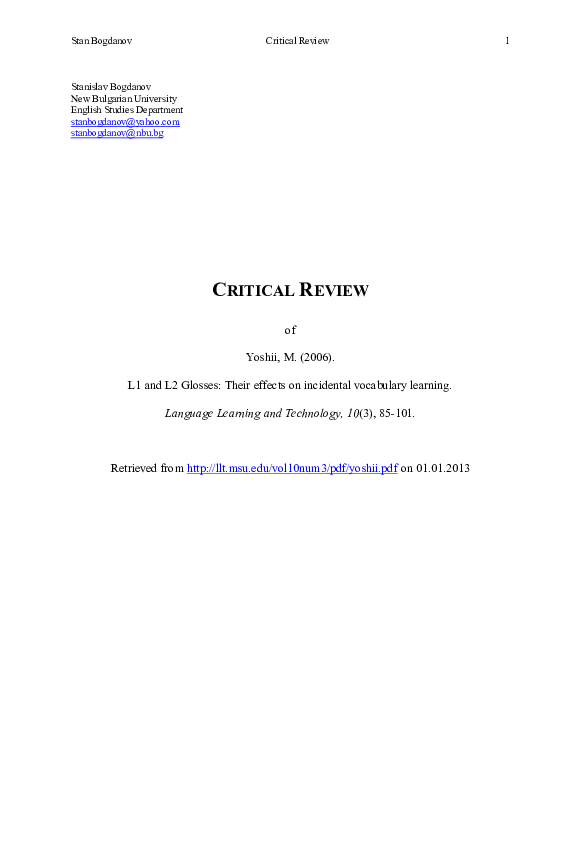 PDF) Critical Review of