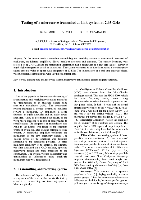 Pdf Testing Of A Microwave Transmission Link System At 2 45