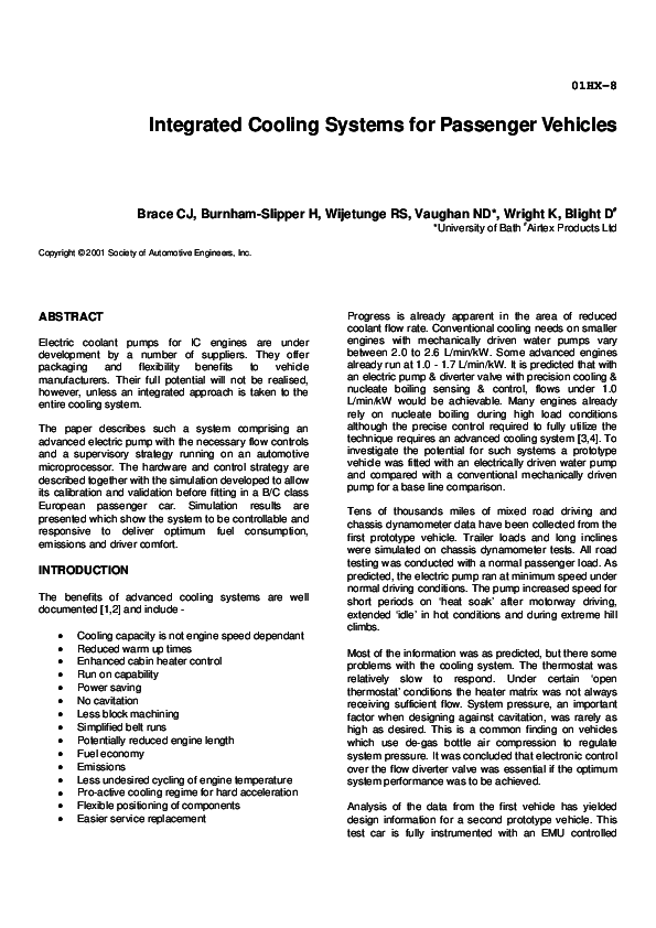 Pdf Integrated Cooling Systems For Passenger Vehicles Chris Brace Academia Edu