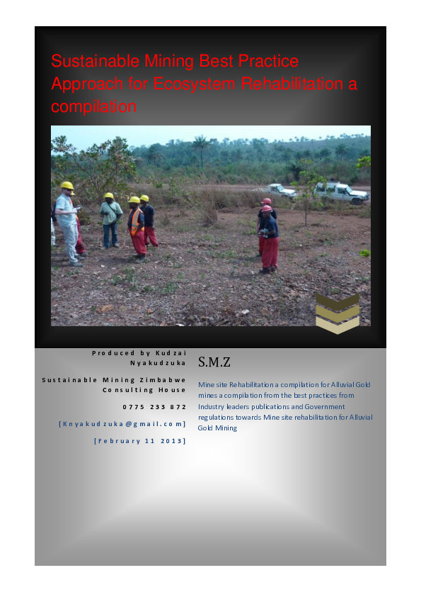 PDF) Sustainable Alluvial Mining Rehabilitation a Compilation