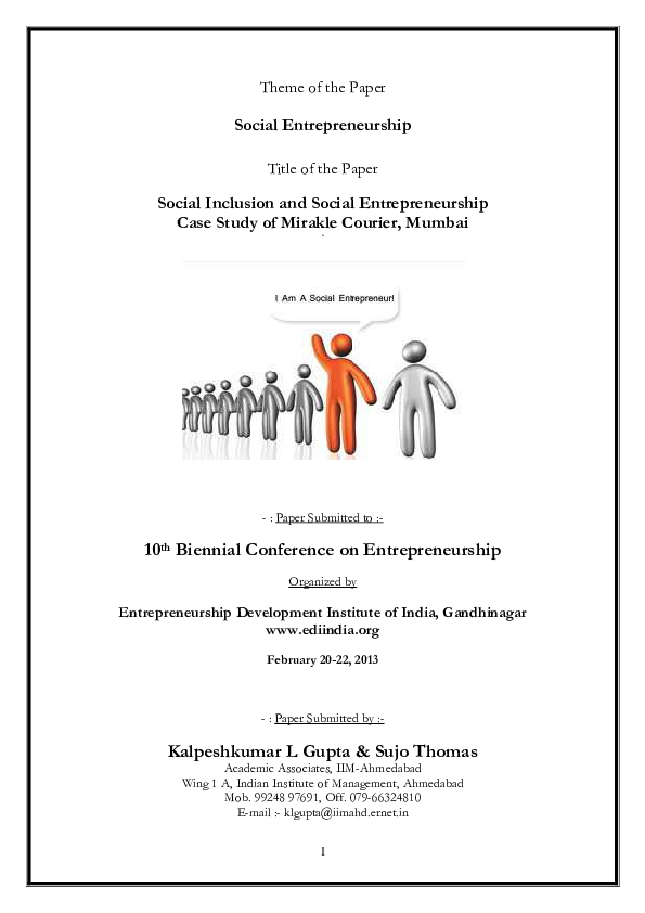 PDF) Social Inclusion & Social Entrepreneurship - Case Study