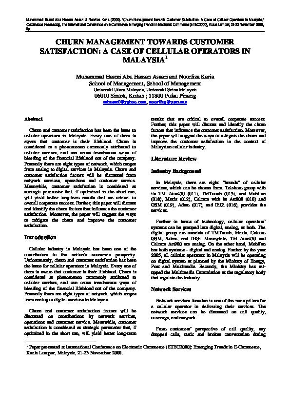 PDF) CHURN MANAGEMENT TOWARDS CUSTOMER SATISFACTION: A CASE