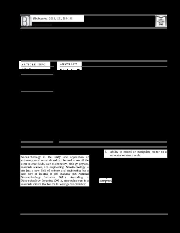 PDF) Scientometrics Analysis of Nanotechnology in MEDLINE | Mohammad