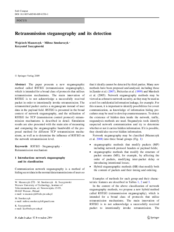 PDF) Retransmission steganography and its detection