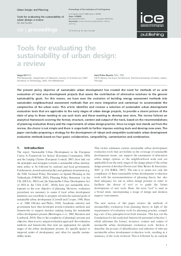 PDF) Tools for evaluating the sustainability of urban design