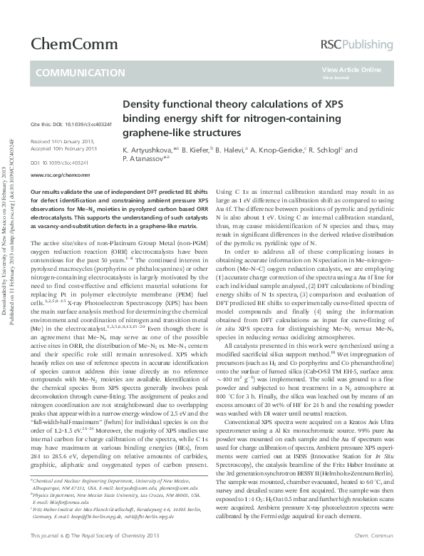PDF) Density functional theory calculations of XPS binding energy