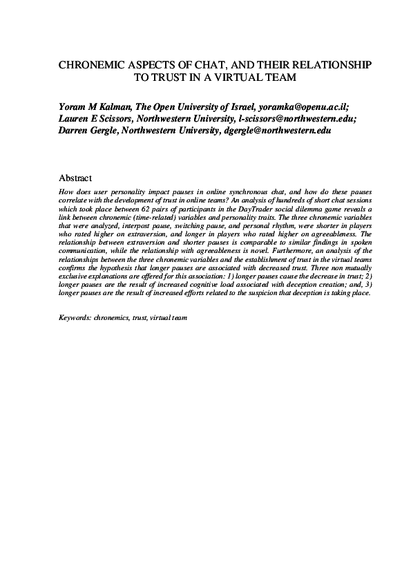 Pdf Chronemic Aspects Of Chat And Their Relationship To Trust In A Virtual Team Darren Gergle Academia Edu 944 likes · 1 talking about this. academia edu