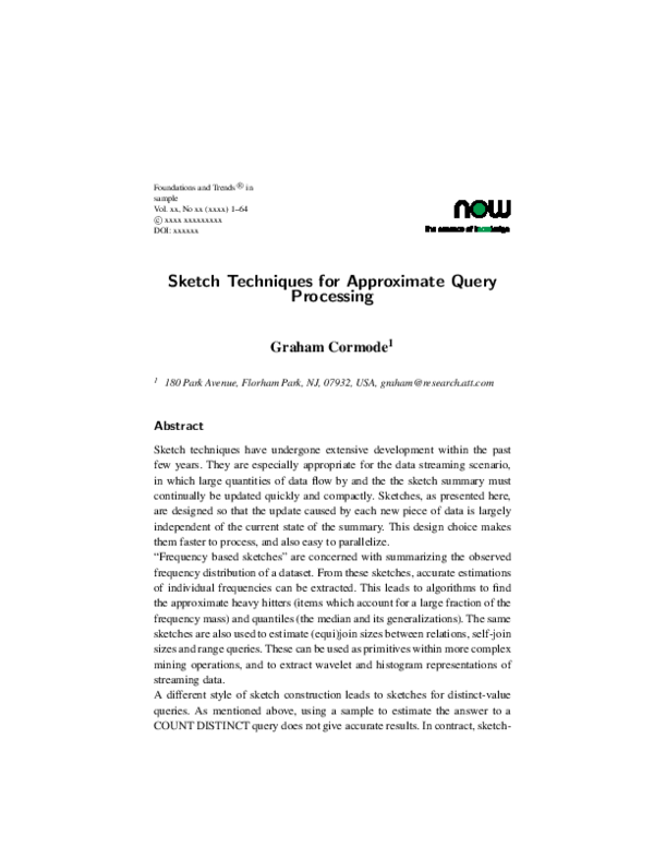 Pdf Sketch Techniques For Approximate Query Processing M Tamer Ozsu Academia Edu