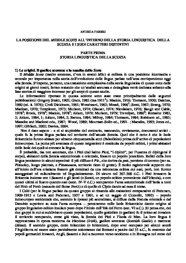 Cartina Stradale Scozia Pdf.Pdf La Posizione Del Middle Scots All Interno Della Storia Linguistica Della Scozia E I Suoi Caratteri Distintivi Parte Prima Storia Linguistica Della Scozia Andrea Fabbri Academia Edu