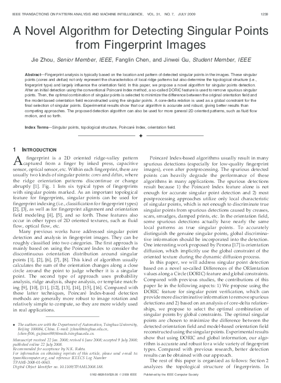 PDF) A novel algorithm for detecting singular points from