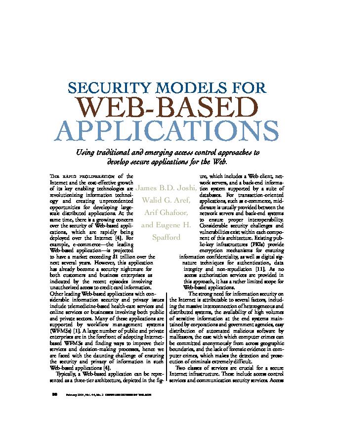 PDF) Security models for web-based applications | Eugene H