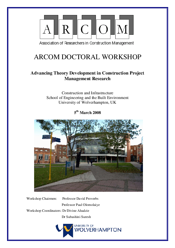 Pdf The Extent Of Theory Development In Project Management Research Observation From The Literature Paul Olomolaiye Academia Edu