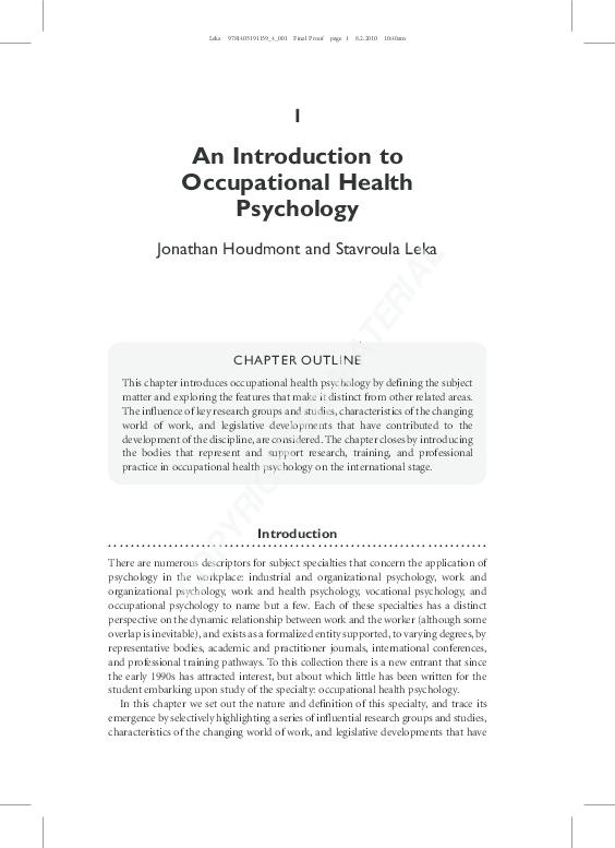(PDF) Occupational health psychology | annet de Lange ...