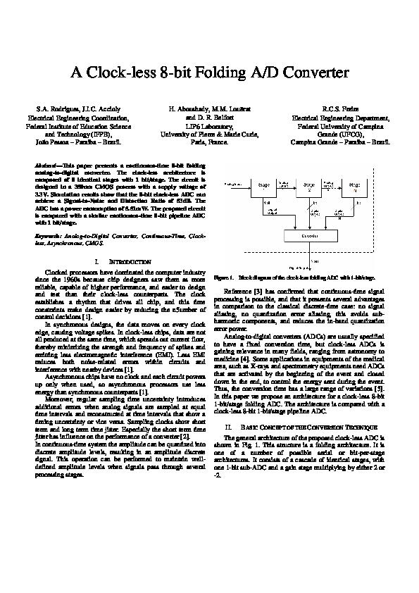 PDF) A Clock-less 8-bit Folding A/D Converter | hassan