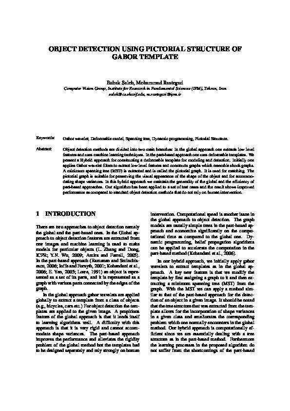 Pdf Object Detection Using Pictorial Structure Of Gabor Template Mohammad Rastegari Academia Edu