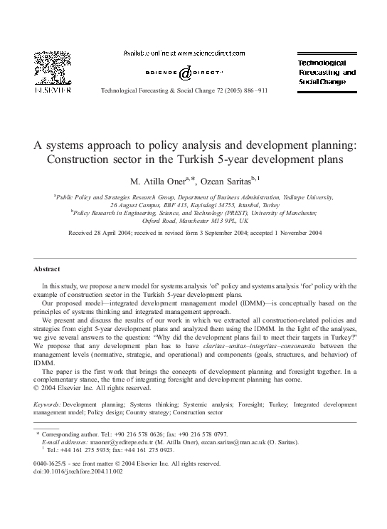 Pdf A Systems Approach To Policy Analysis And Development Planning Construction Sector In The Turkish 5 Year Development Plans Ozcan Saritas Academia Edu
