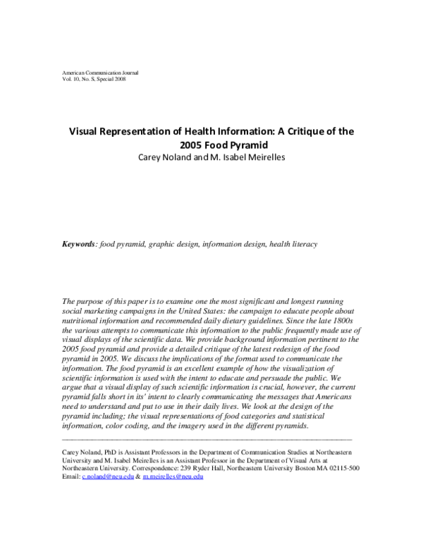 Pdf Visual Representation Of Health Information A Critique Of The 2005 Food Pyramid Isabel Meirelles Academia Edu
