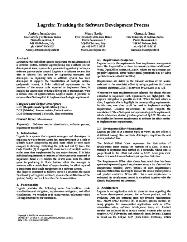 PDF) Lagrein: tracking the software development process