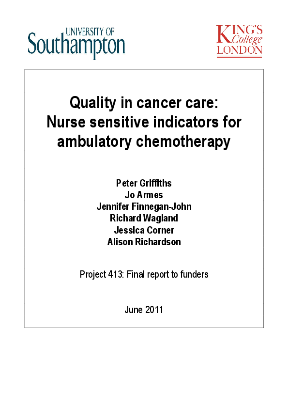 PDF) Quality in cancer care: Nurse sensitive indicators for