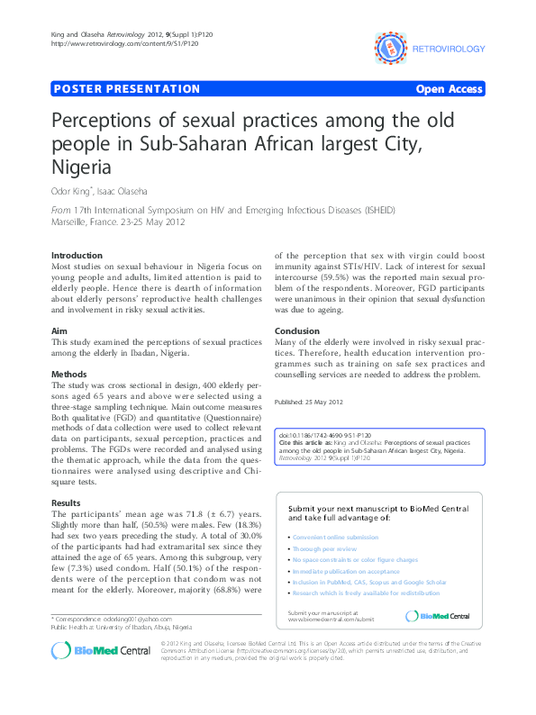 PDF) Condom Use Among Geriatrics in Africa (Pp 67-74) | Odor