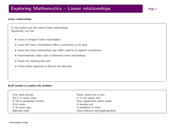 PDF) Exploring Mathematics: Linear relations | Christopher