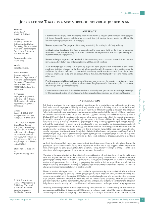 Pdf Job Crafting Towards A New Model Of Individual Job Redesign Arnold Bakker Academia Edu
