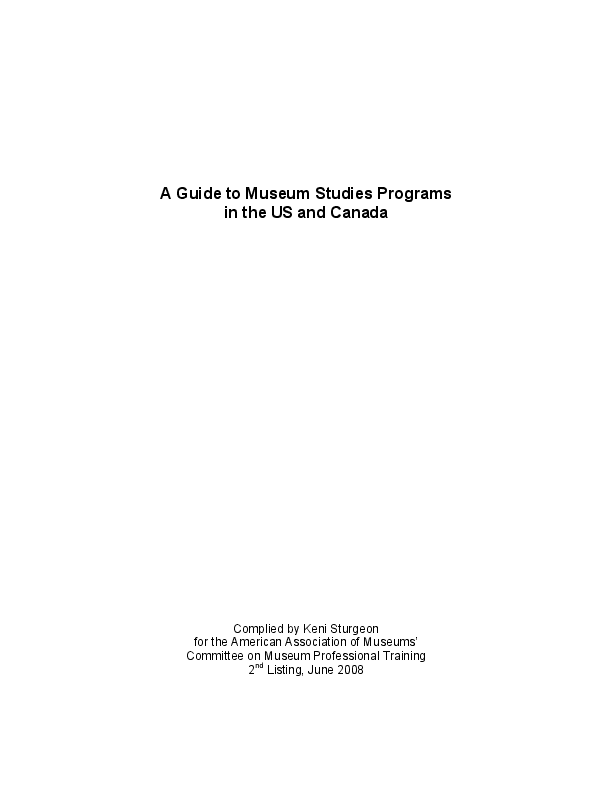 PDF) A Guide to Museum Studies Programs in the US and Canada