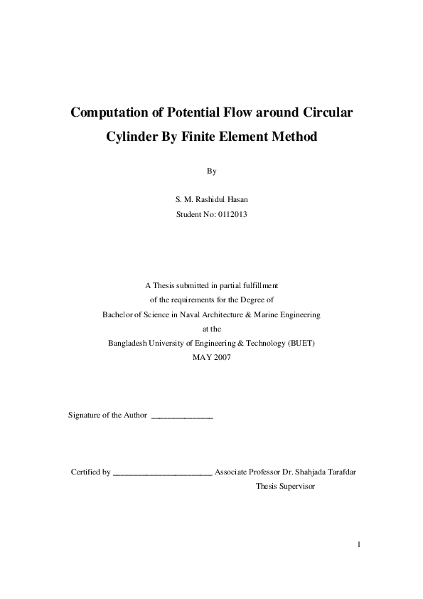PDF) Computation of Potential Flow around Circular Cylinder