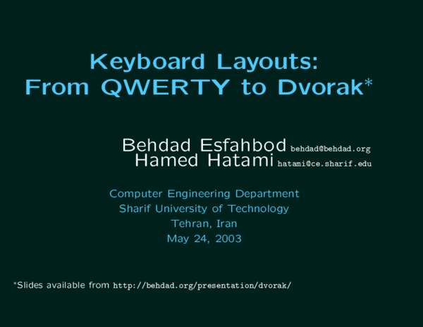 PDF) Keyboard Layouts: From QWERTY to Dvorak | Behdad Esfahbod