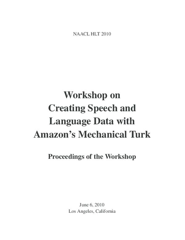 PDF) Creating speech and language data with Amazon's