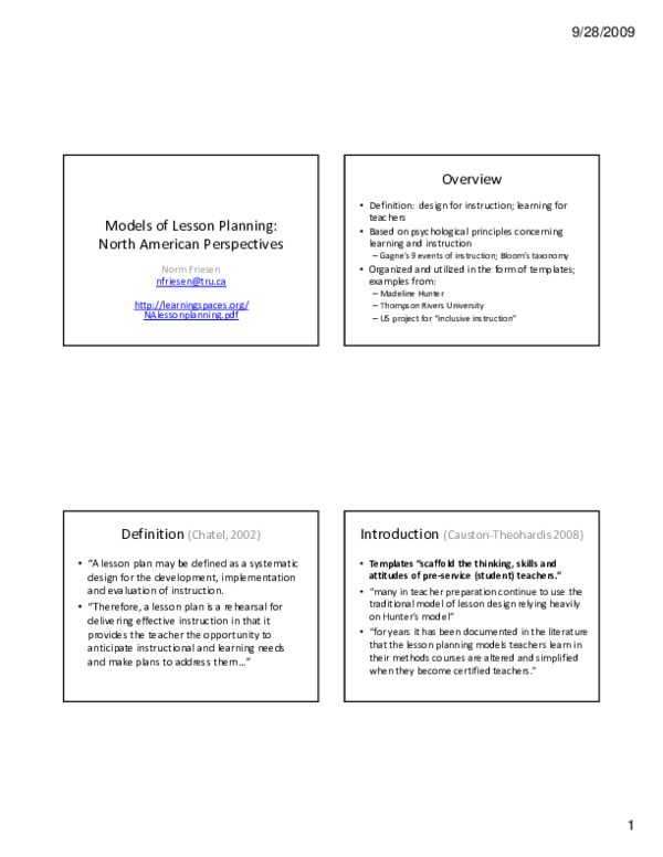 Pdf Models Of Lesson Planning North American Perspectives Norm Friesen Academia Edu