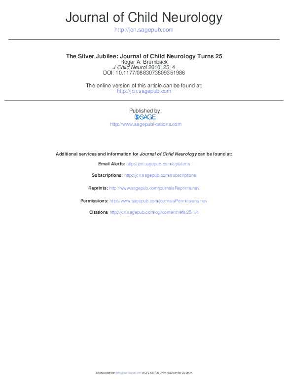 PDF) The silver jubilee: Journal of Child Neurology turns 25