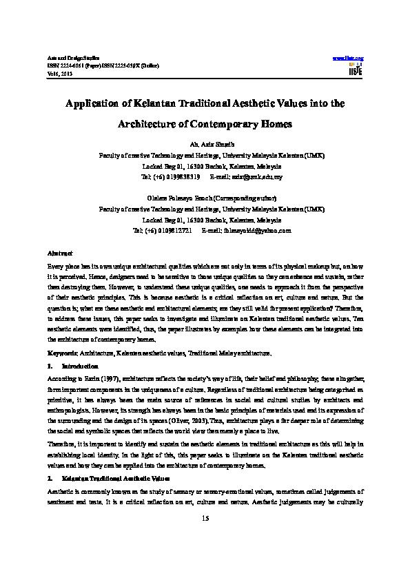 PDF) Application of Kelantan Traditional Aesthetic Values