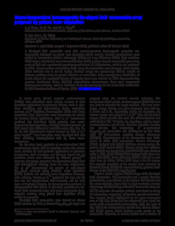 (PDF) Room-temperature ferromagnetic Co-doped ZnO