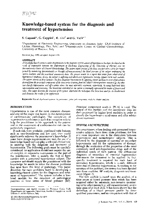 PDF) Knowledge-based system for the diagnosis and treatment of