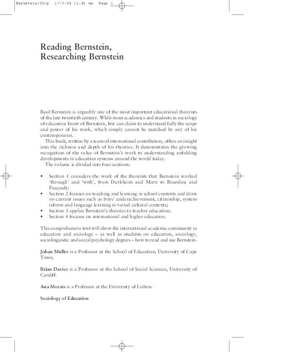Reading Bernstein, Researching Bernstein