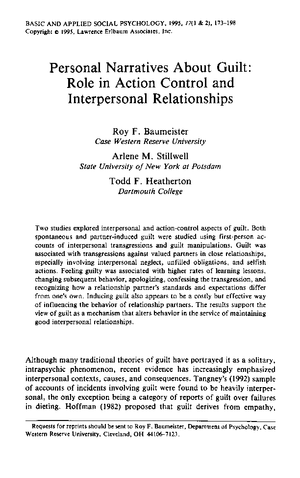 PDF) Personal narratives about guilt: Role in action control