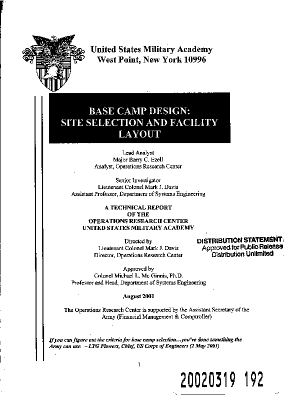 PDF) Base Camp Design: Site Selection and Facility Layout   Barry