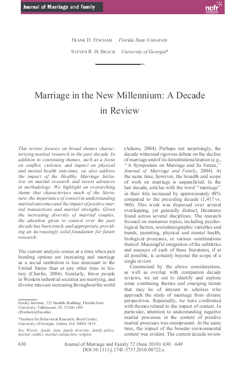 PDF) Marriage in the new millennium: A decade in review