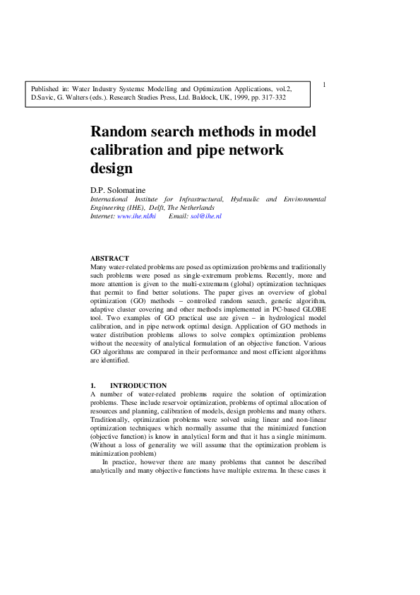 PDF) Random search methods in model calibration and pipe network