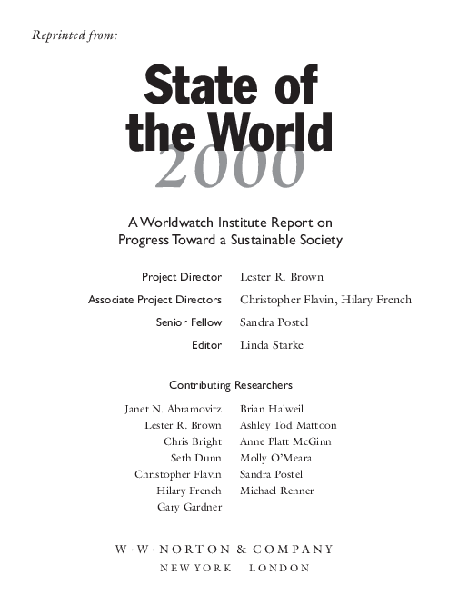 Pdf State Of The World 1997 A Worldwatch Institute Report On Progress Toward A Sustainable Society David Roodman Academia Edu